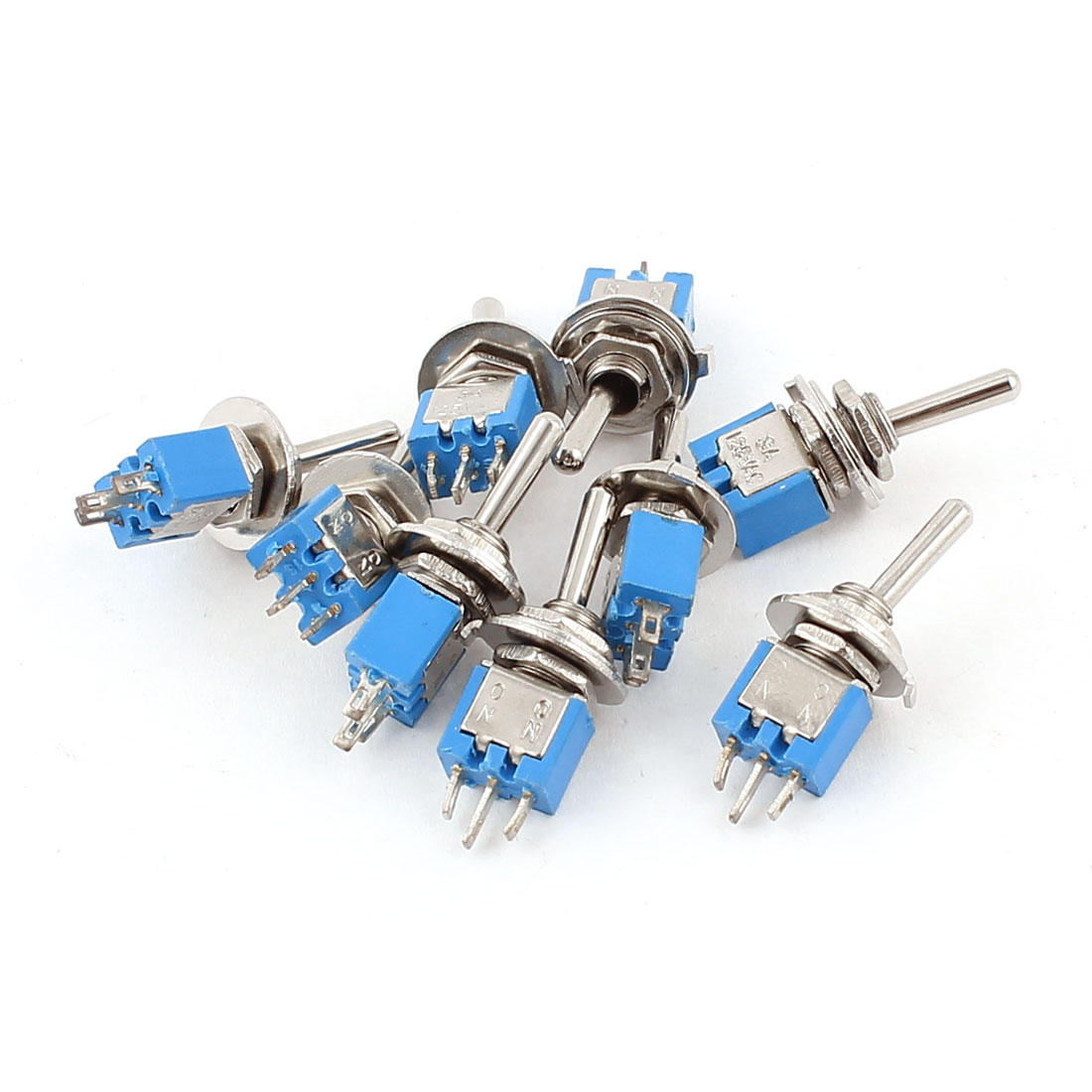 9Pcs AC 125V 3A On-On Control Panel Mount SPDT Locking Mini Toggle Switch Blue 5mm