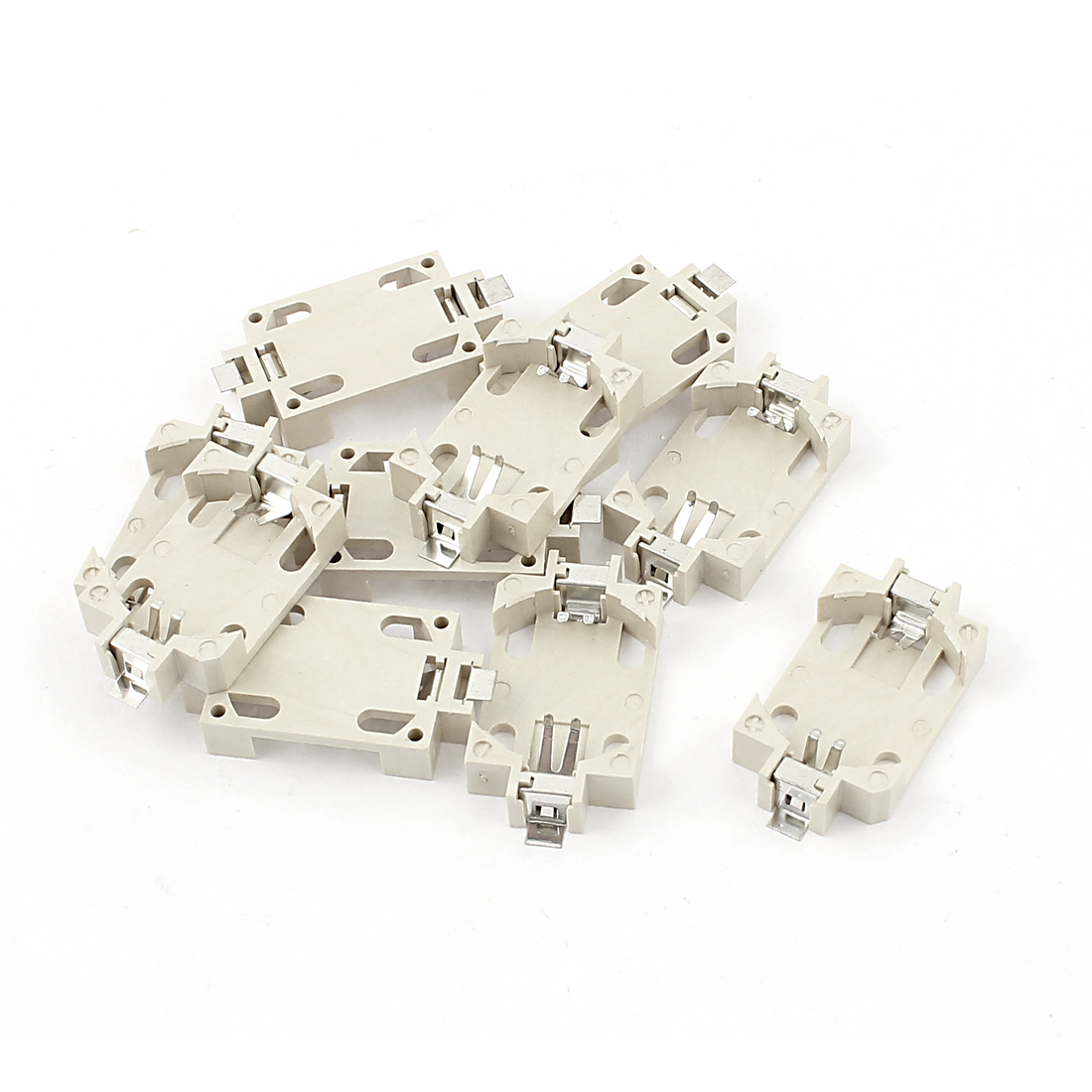10pcs White Plastic Shell SMD SMT Type Button Battery Holder Socket Case for 1 x 3V CR2032 Coin Cell