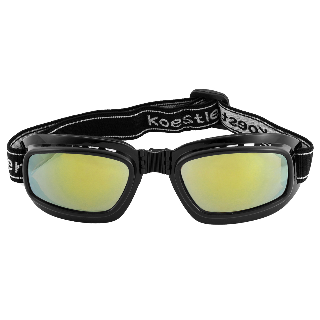 Black Mirrored Lens Full Rim Folding Motorcycle Protective Goggles Glasses Eyewear