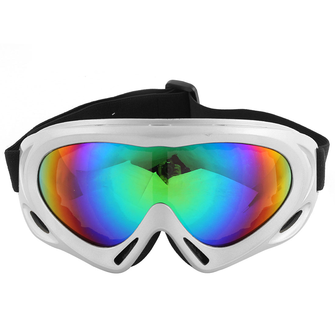 Gray Frame Elastic Strap Colorful Lens Windproof Motorcycle Goggles Eyewear