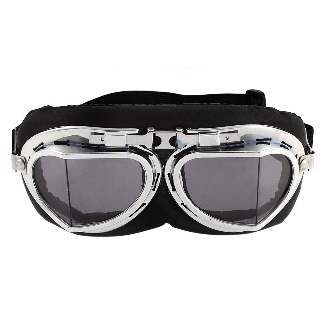 Full Frame Adjustable Strap Black Lens Ski Motorcycle Goggles Wind Glasses