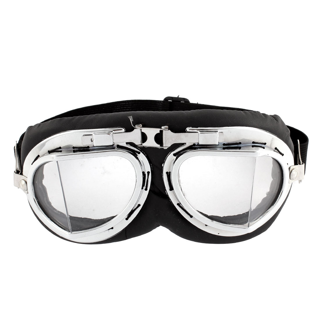 Motorcycle Bicycle Driving Black Silver Tone Protective Goggles Glasses Sunglasses