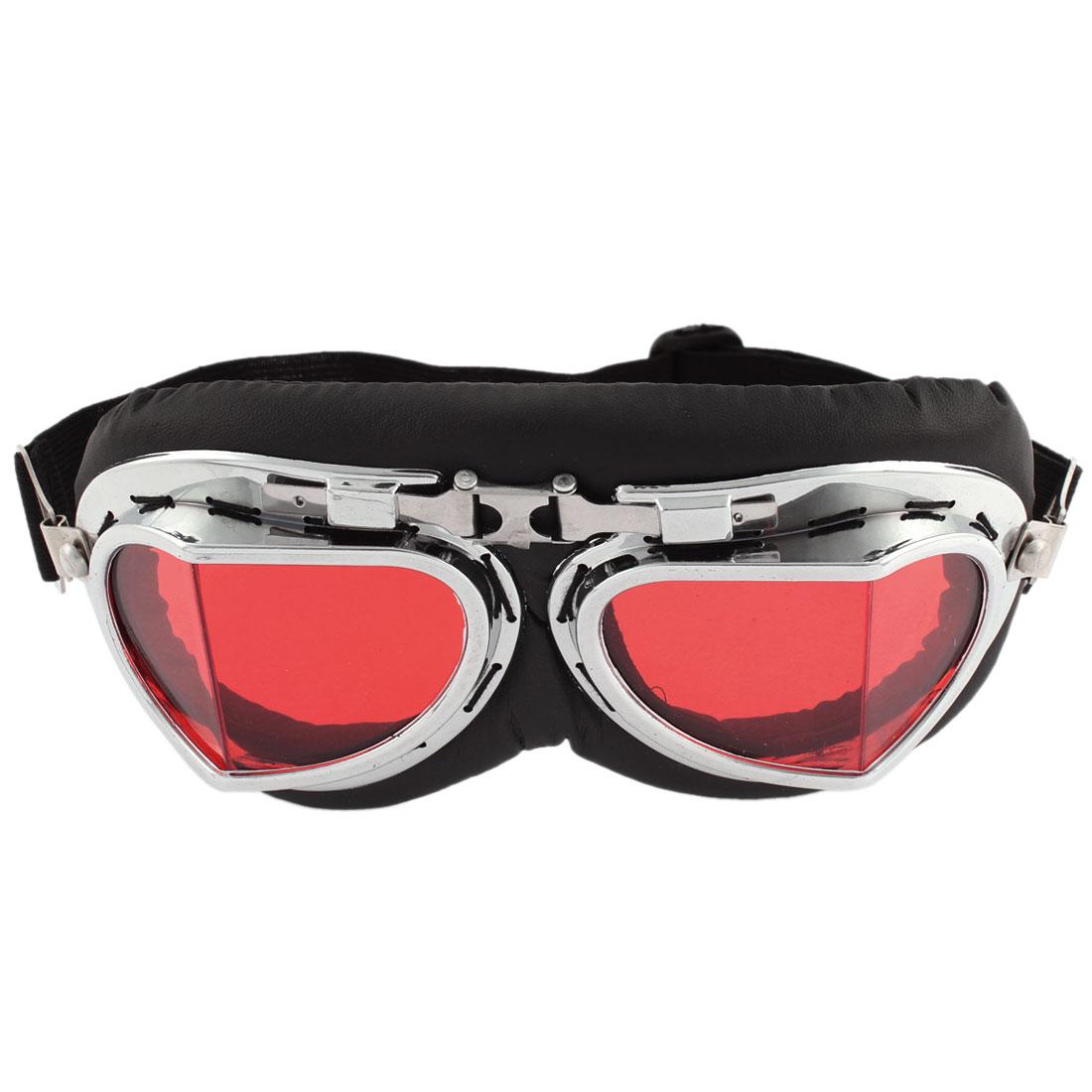 Unisex Full Frame Adjustable Strap Red Lens Ski Motorcycle Goggles Wind Glasses