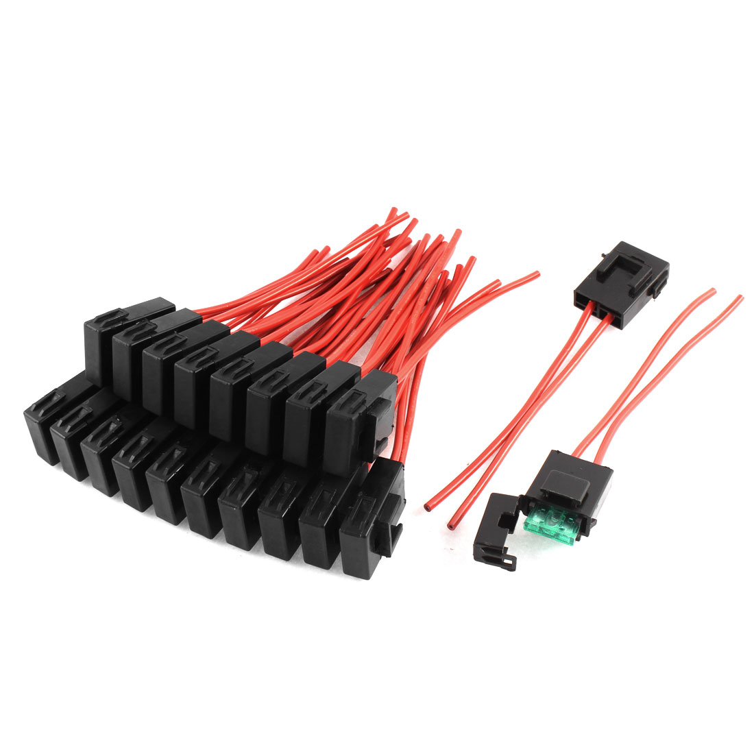 20 Pcs Car Boat Truck AWG Wire Blade Fuse w Plastic Holder Black Red 32V 30A