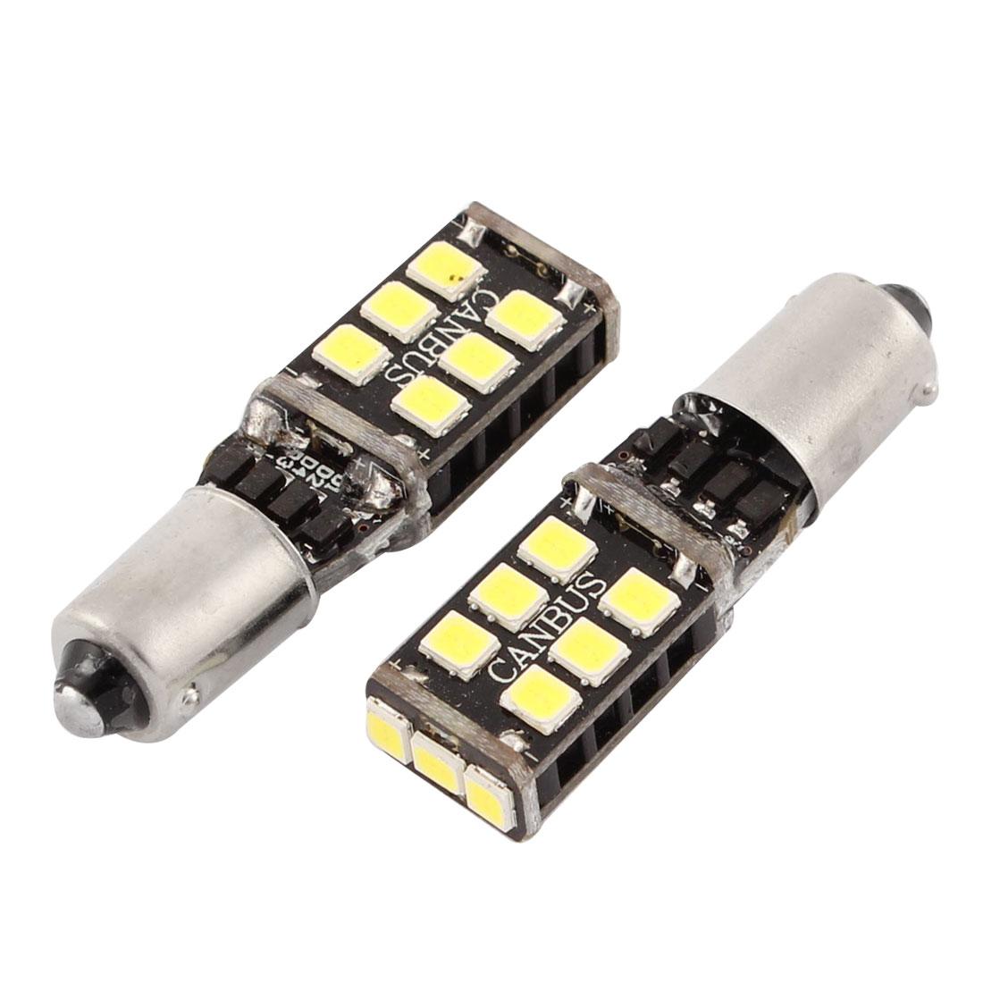 2 Pcs Error Free No Pole BA9S 3528 SMD 15 LEDs Turn Corner Tail Brake Light White 7.5W