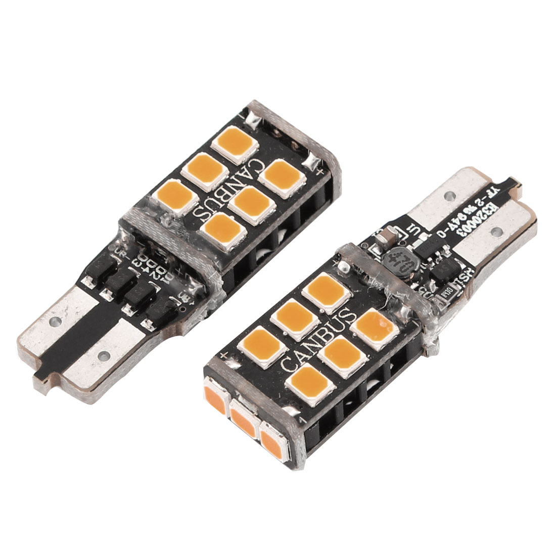 2 Pcs T10 W5W Yellow 3528 15-SMD LED Car Non-Polar Dashboard Bulbs Internal