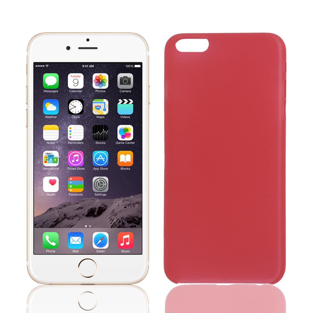 Transparent Ultra Thin Protective Case Cover Skin Red for iPhone 6 Plus 5.5""