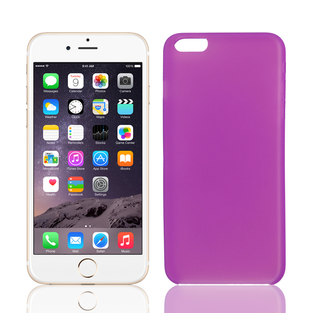 Transparent Ultra Thin Protective Case Cover Skin Fuchsia for iPhone 6 Plus 5.5""