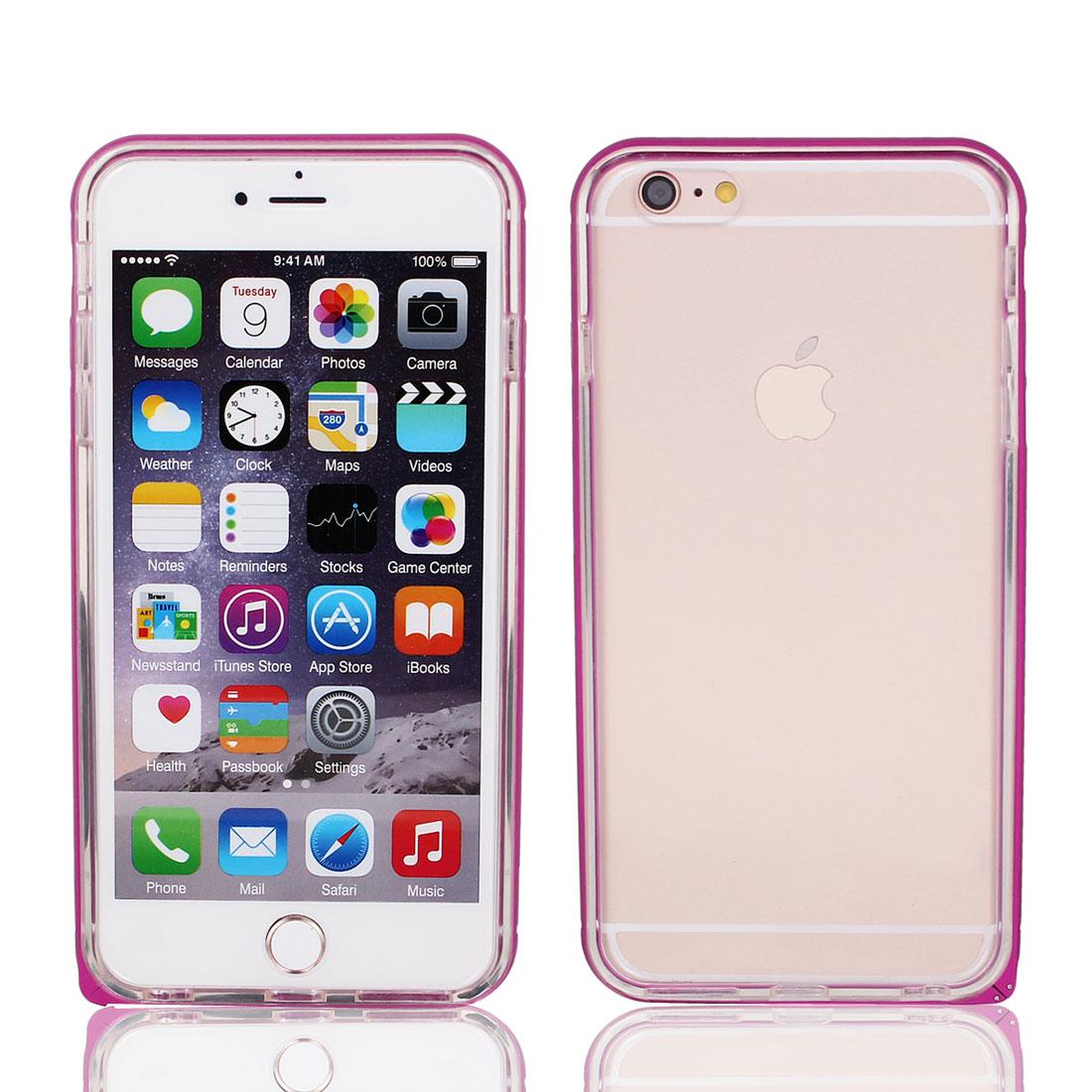 """Aluminum Metal Bumper Case Cover Back TPU Skin Fuchsia Clear for iPhone 6 4.7"""""""