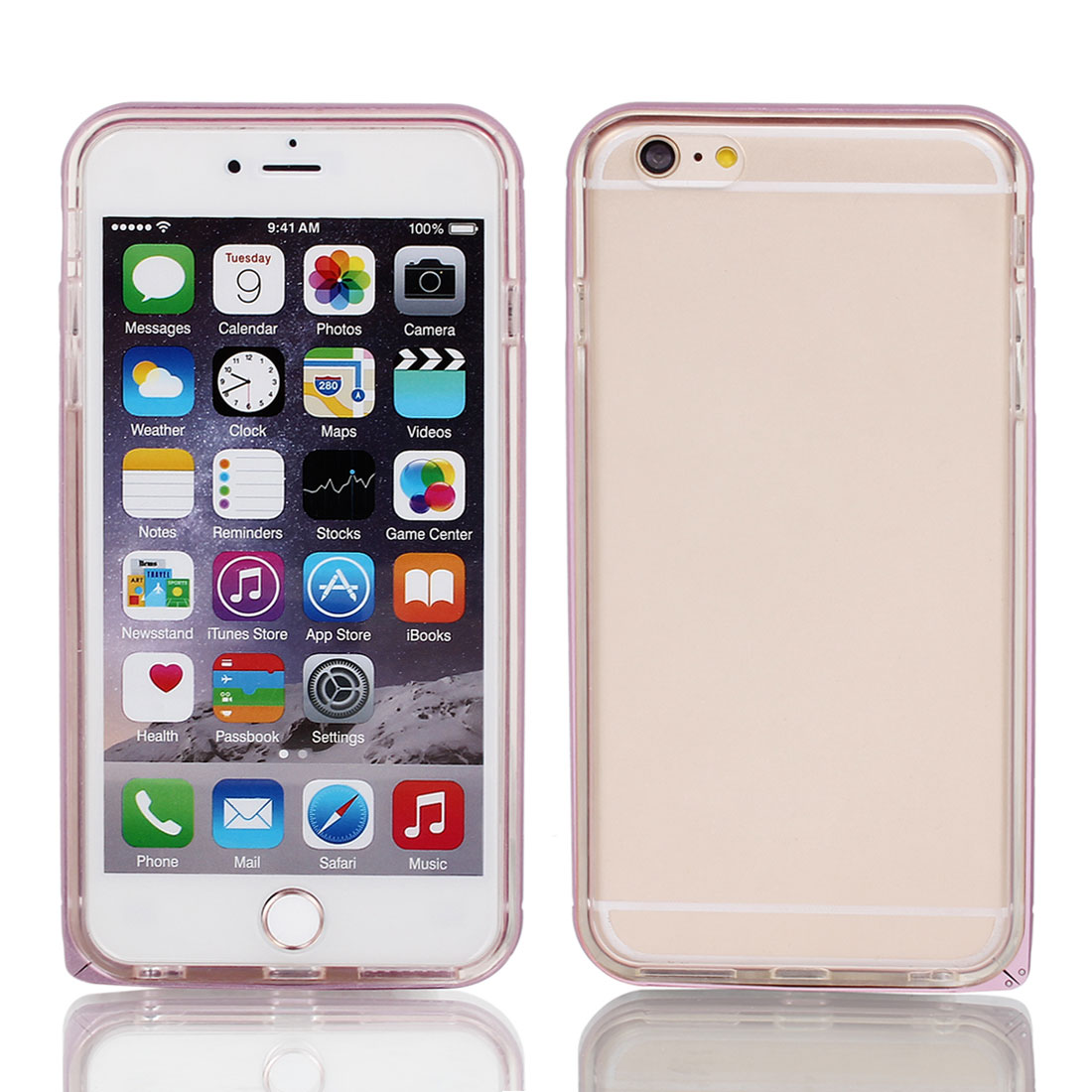 TPU Frame Soft Back Cover Case Protector Pink for iPhone 6Plus 5.5""