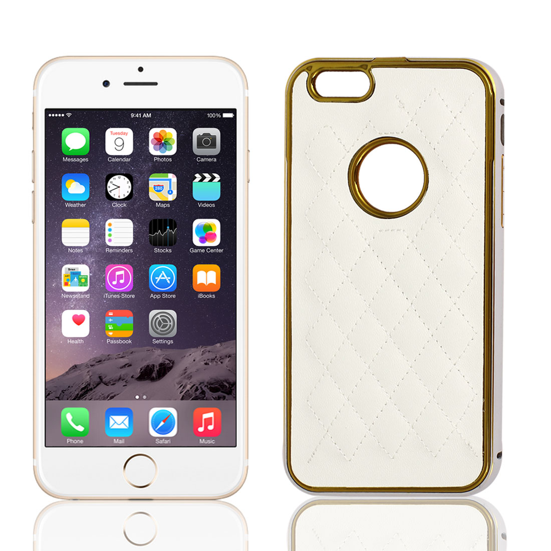 Faux Leather Metal Back Cover Case Protector White for Apple iPhone 6 4.7""