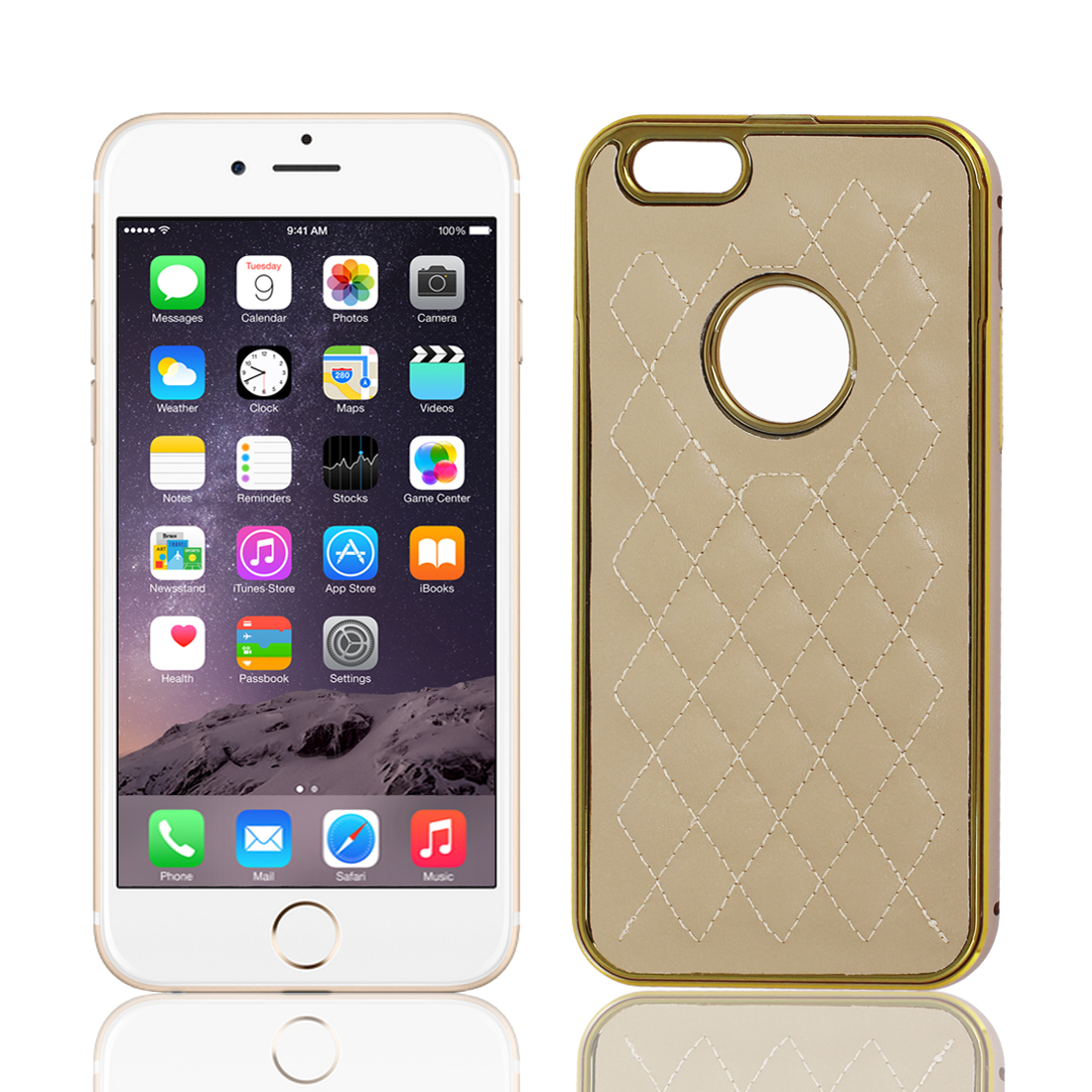 """Metal Frame Rhombus Checked Pattern Shell Slim Hard Case Cover Khaki for iPhone 6 4.7"""""""