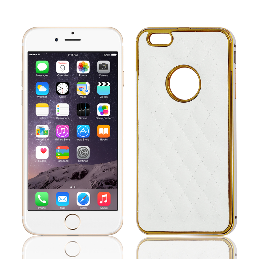 Metal Bumper Rhombus Pattern Cover Case Shell White for Apple iPhone 6 Plus 5.5""