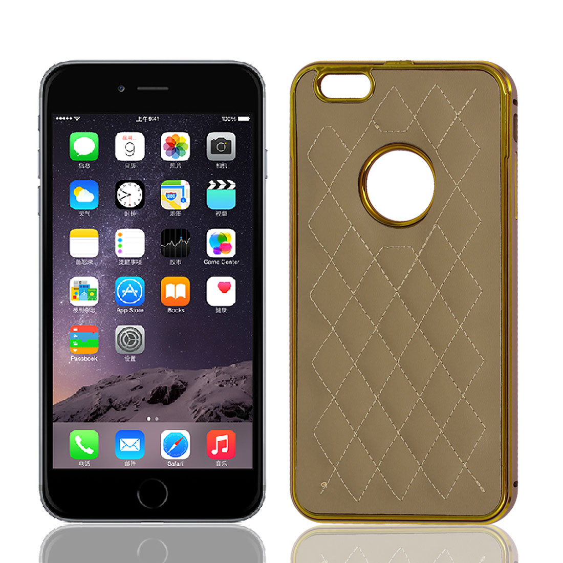 Luxury Bumper Rhombus Pattern Cover Case Shell Khaki for Apple iPhone 6 Plus 5.5""