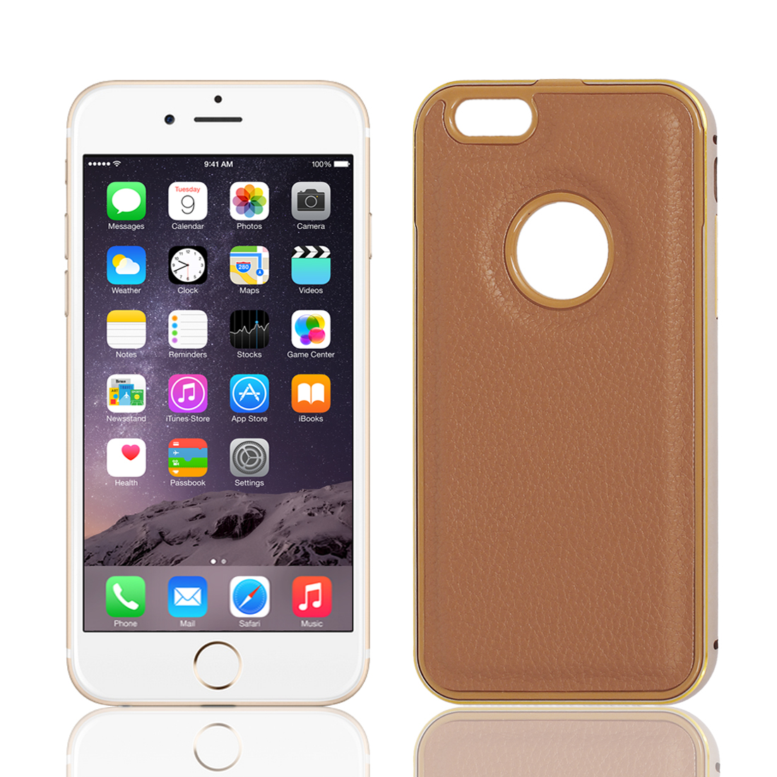 Luxury Metal Bumper Faux Leather Hard Case Cover Protector Brown for iPhone 6