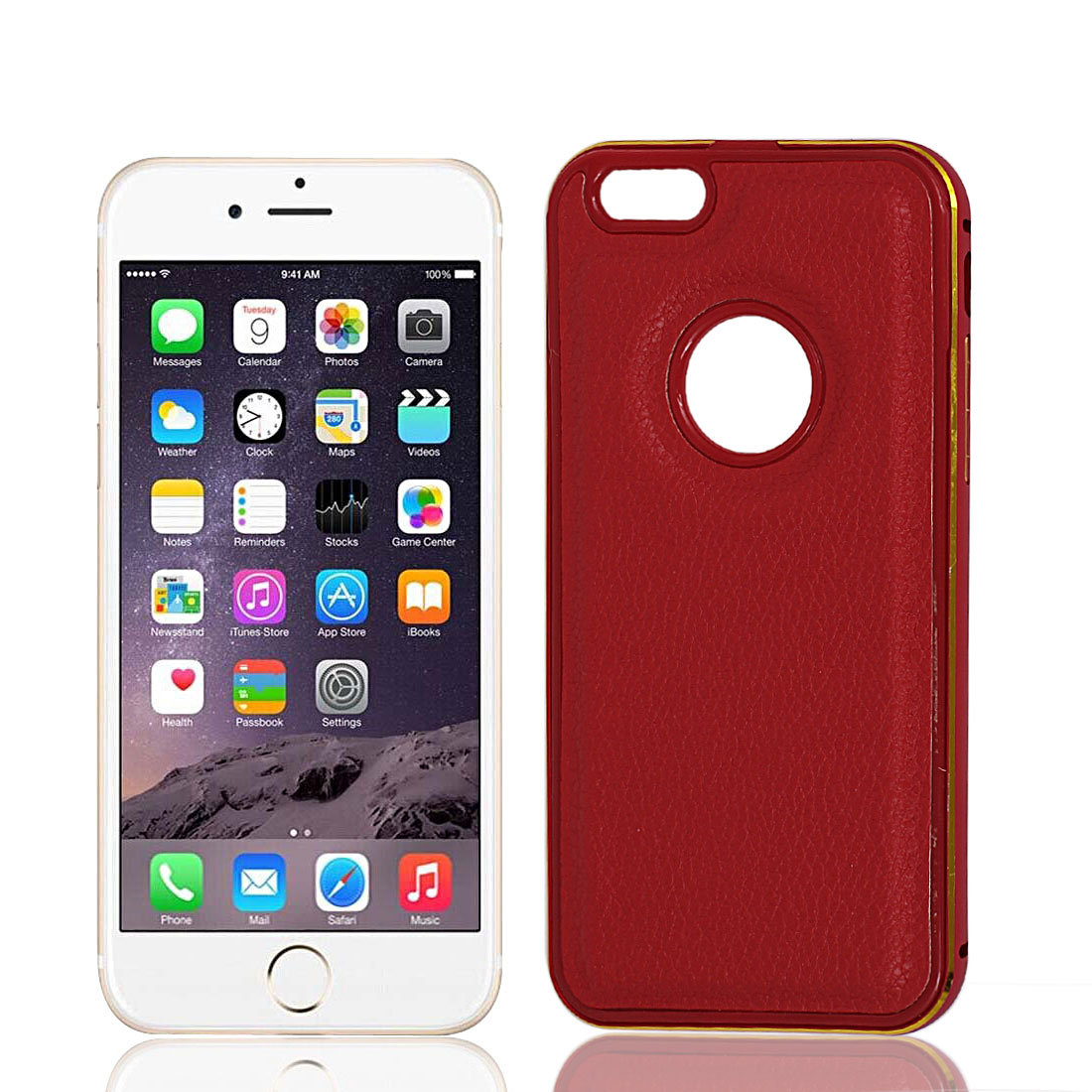 Faux Leather Metal Back Cover Case Protector Red for Apple iPhone 6 4.7""