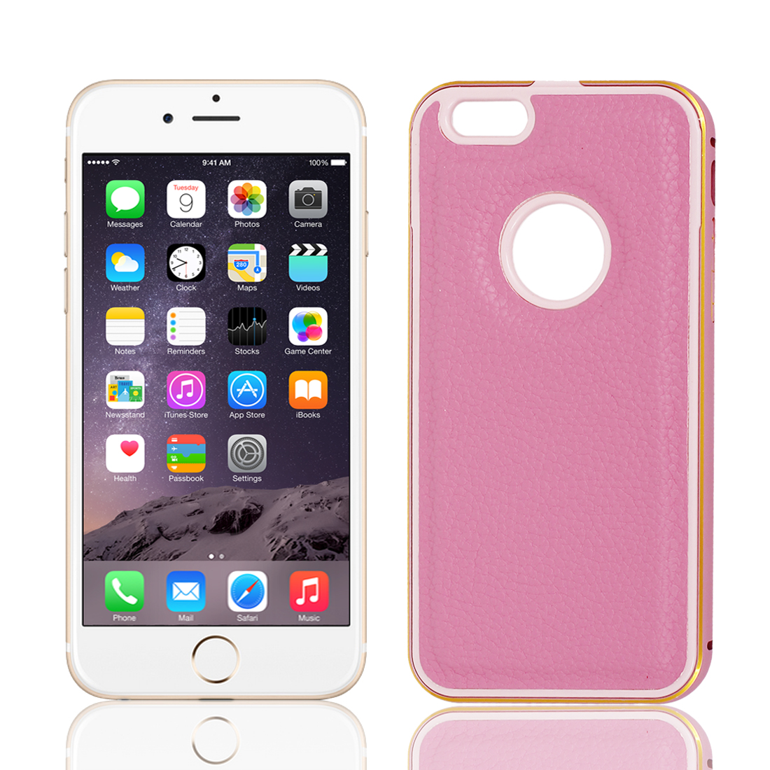 Metal Bumper Faux Leather Hard Case Cover Protector Pink for iPhone 6 4.7""