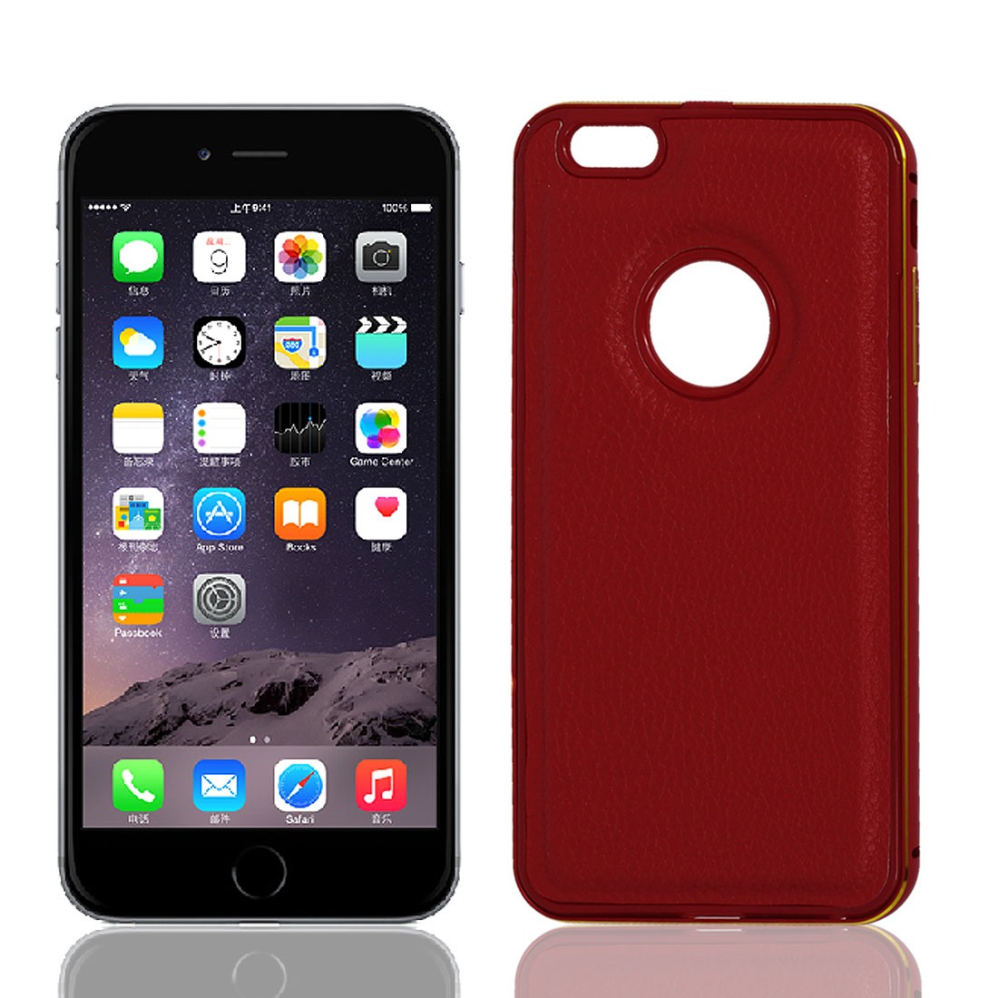 Metal Bumper Faux Leather Thin Case Cover Shell Red for iPhone 6 Plus 5.5""