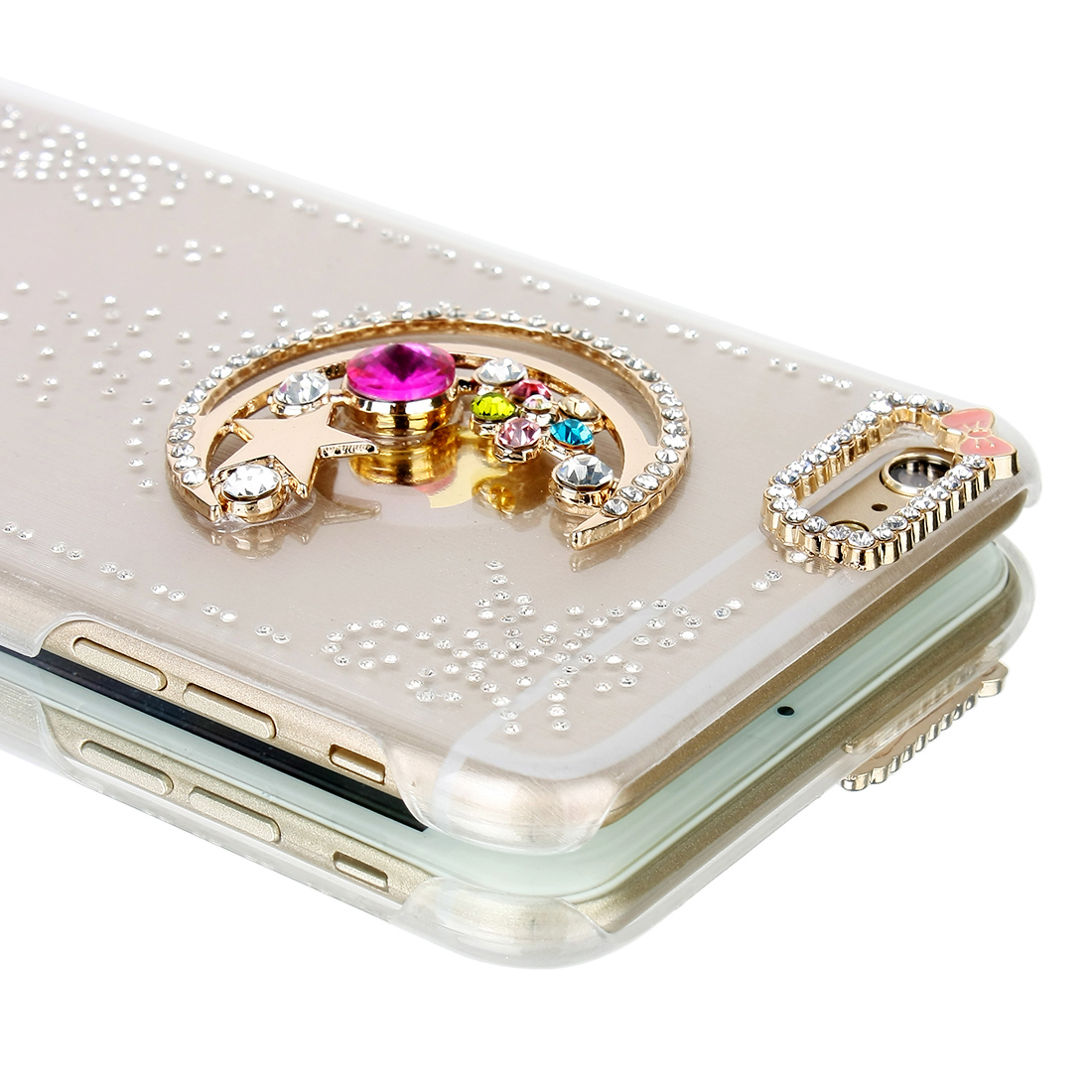 Bling Rhinestone Crystal Faux Diamond Hard Case Cover Clear Bumper For iPhone 6 Plus 5.5""