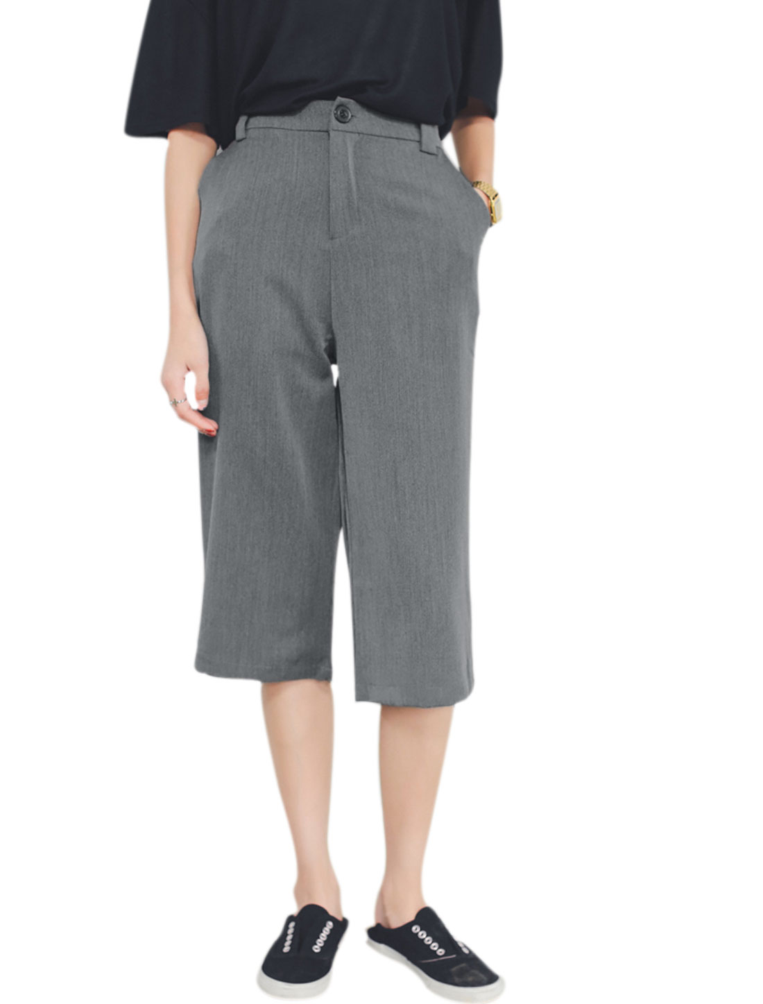 Women Elastic Waist Mid Rise Two Slant Pockets Capri Pants Gray M