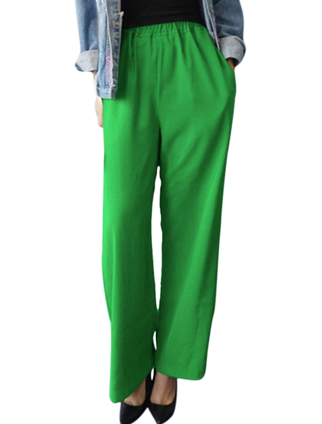 Women High Rise Elastic Waist Two Seam Pockets Wide Leg Pants Green S