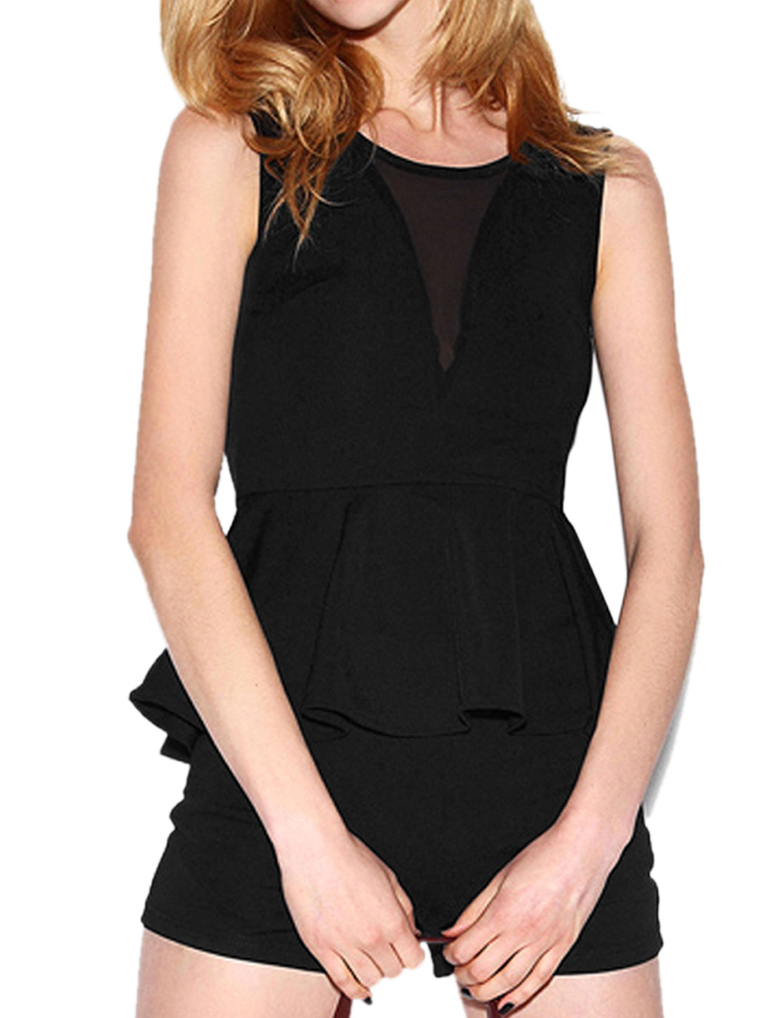 Lady Round Neck Peplum Tops w Mid Rise Pockets Front Shorts Sets Black M