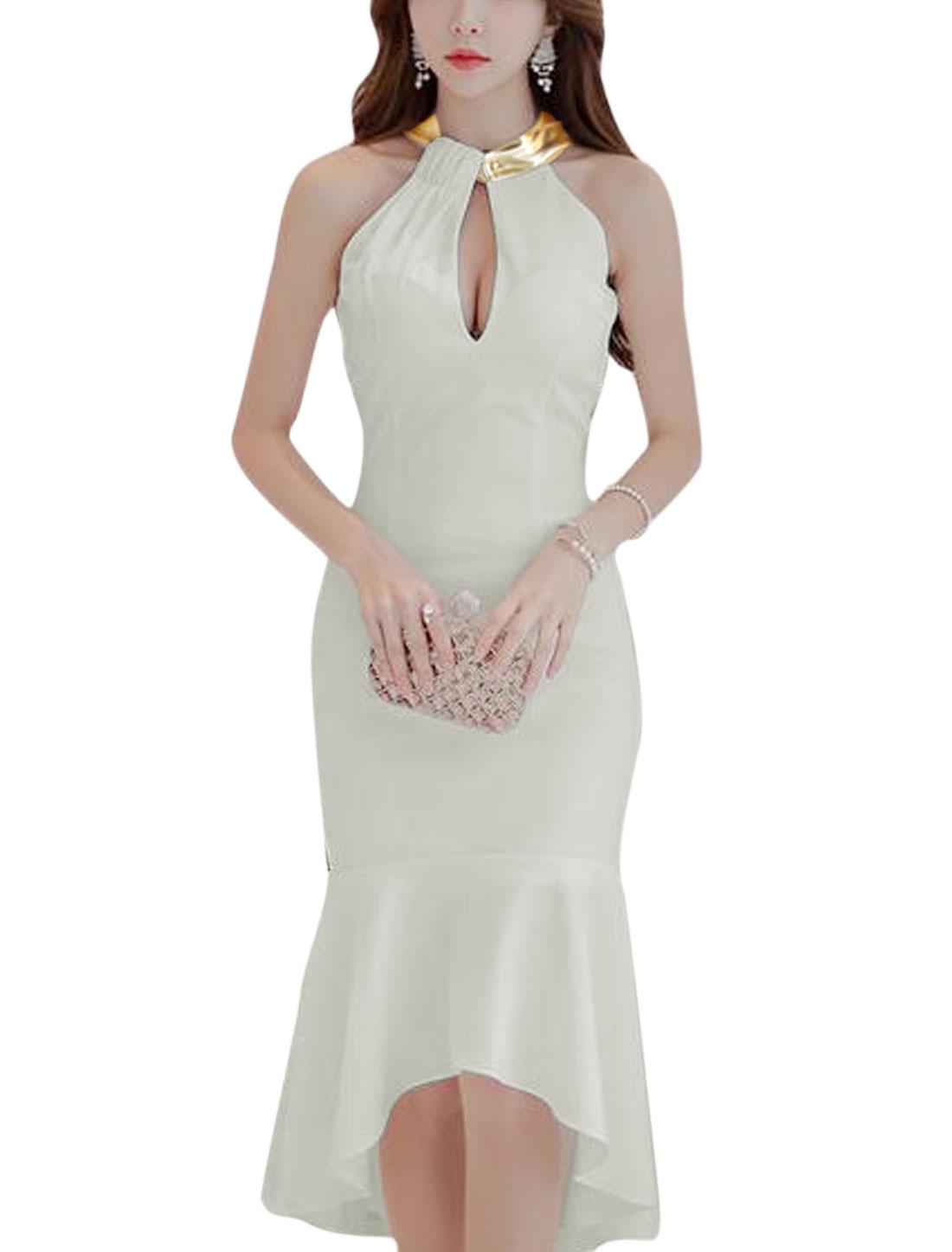 Women Halter Neck Cut Out Asymmetric Hem Casual Long Dress White M