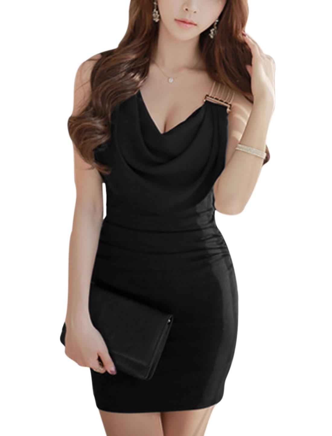 Women Cowl Neck Shirred Sides Sleeveless Chiffon Panel Sheath Dress Black S