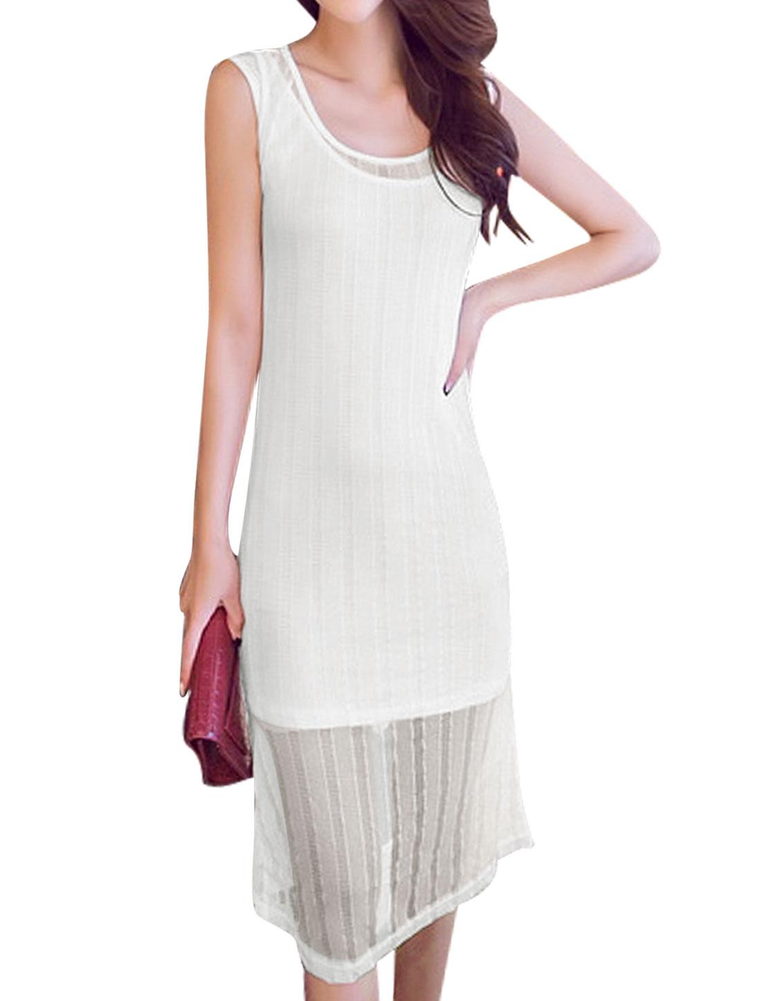 Women Sleeveless Tunic Tank Top w Scoop Neck Casual Dress Set White S