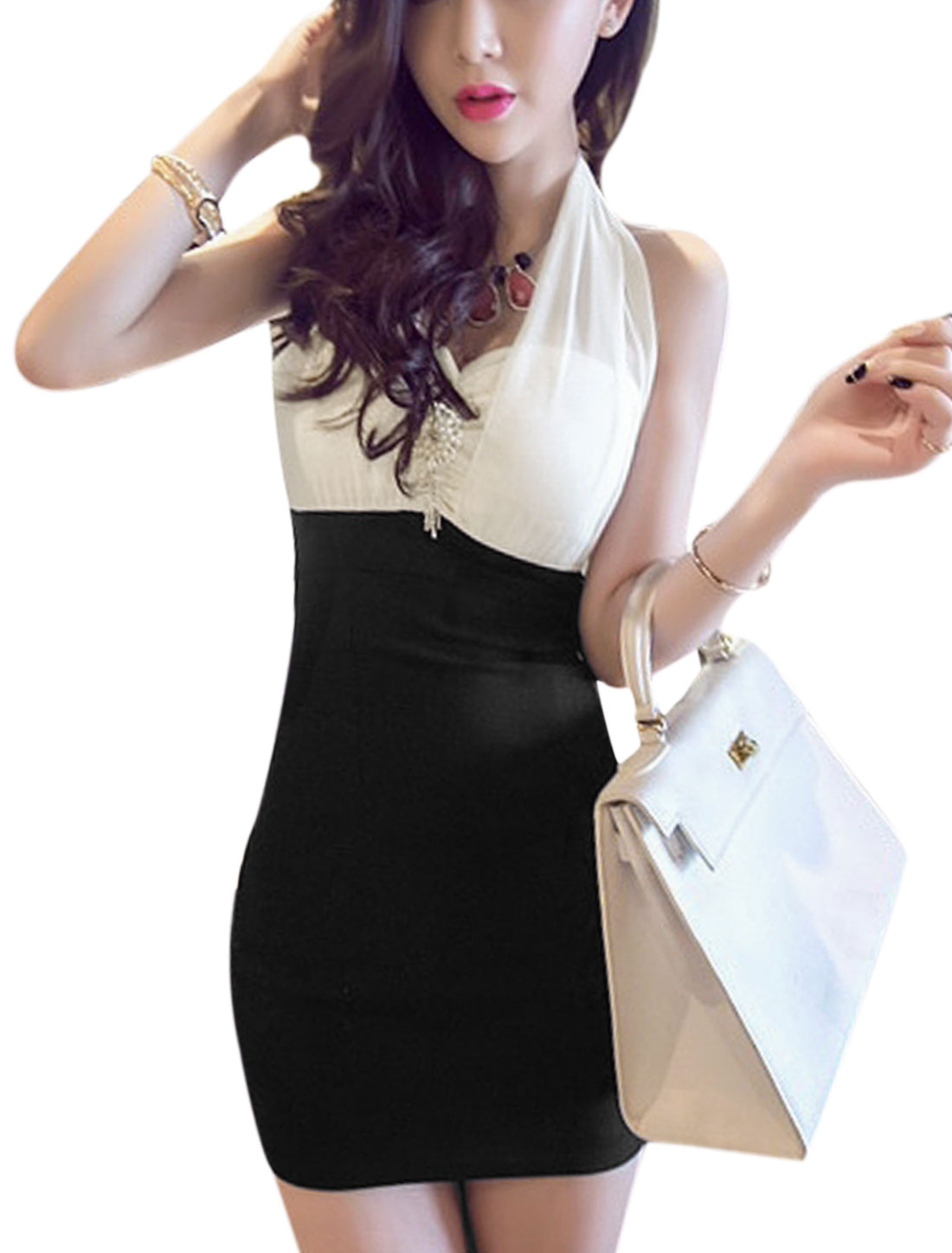 Women Halter Neck Chiffon Panel Sweetheart Neckline Sheath Dress White Black M