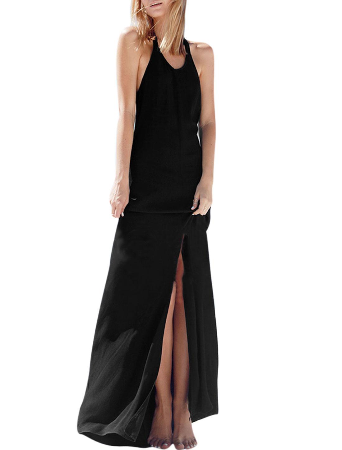Women Scoop Neck Sleeveless Open Back Split Hem Maxi Dress Black M