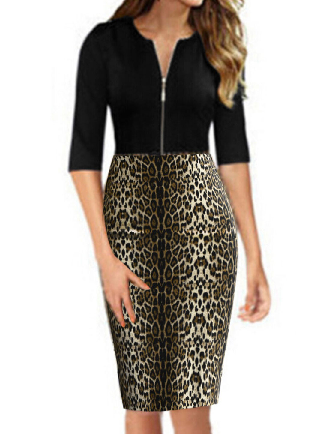 Woman Leopard Prints Half Length Sleeves Zip Closure Upper Wiggle Dress Black Coffee L
