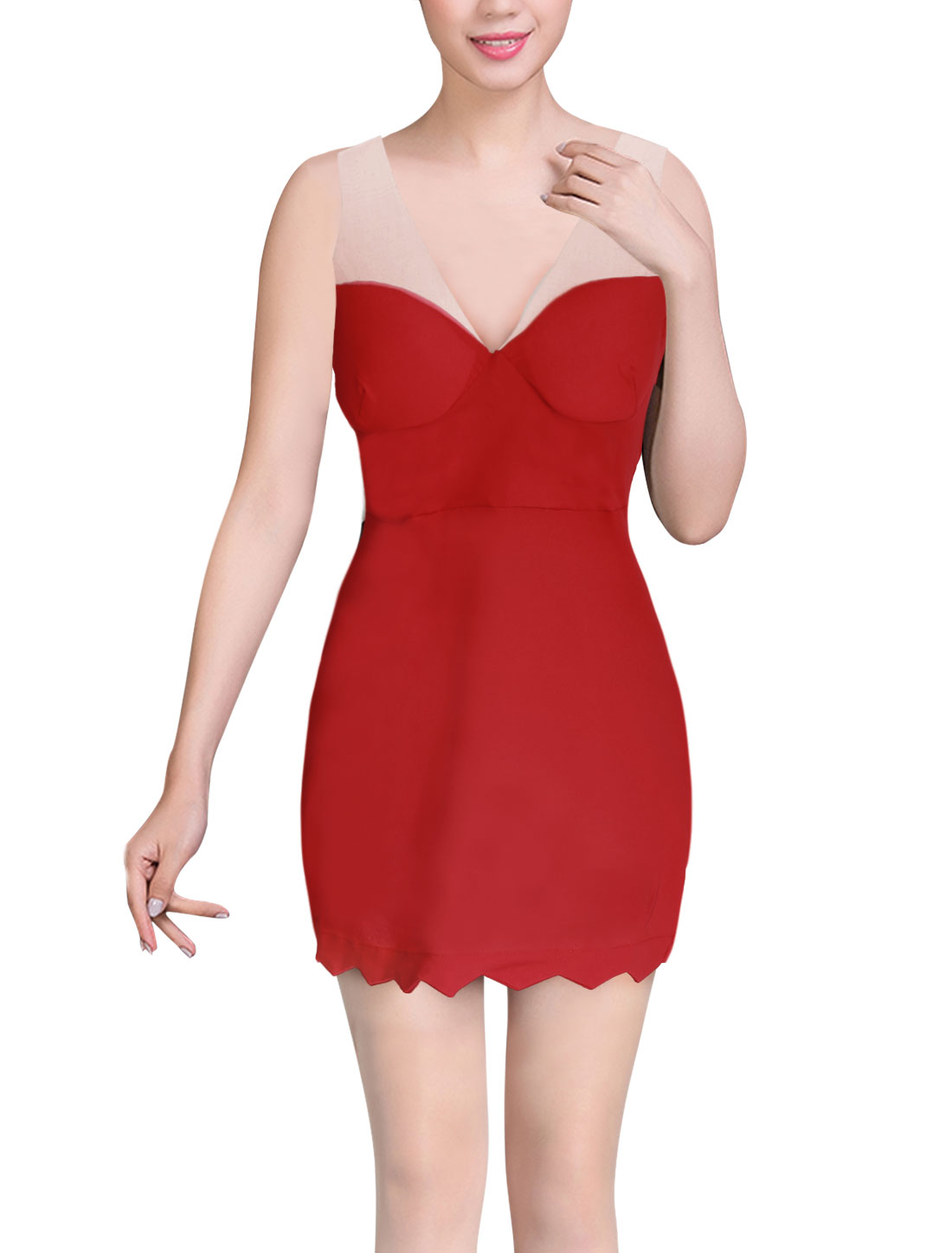 Woman Mesh Panel Padded Bust Deep V Neck Sleeveless Sexy Dress Red M