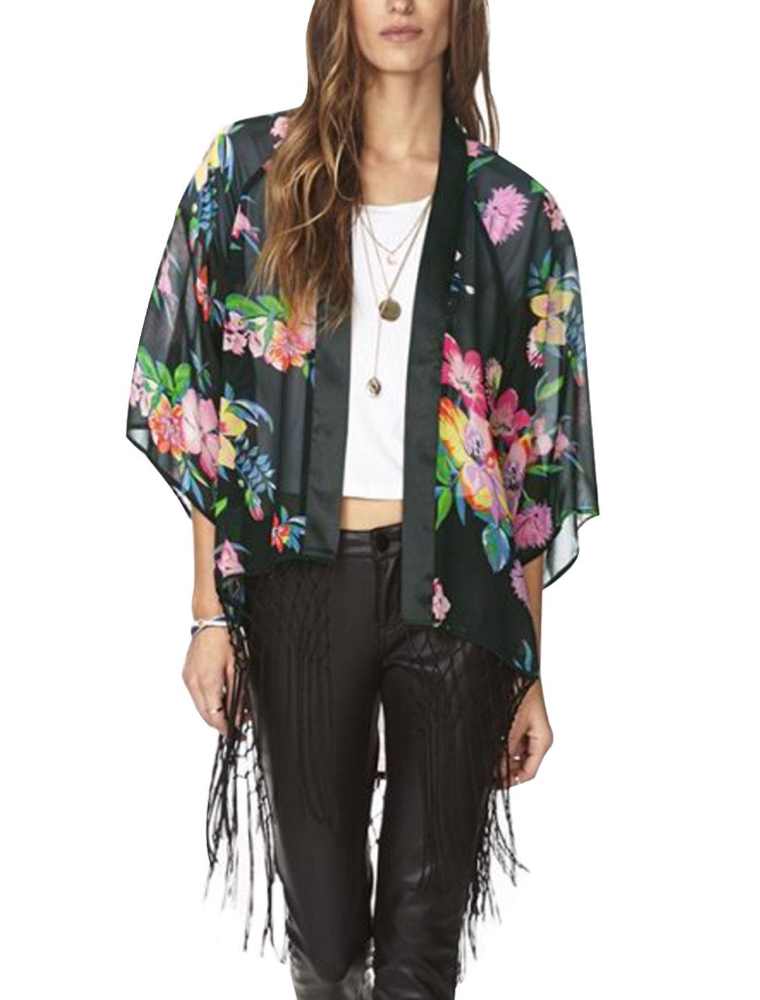 Woman Floral Prints 3/4 Batwing Sleeves Fringed Trim Chiffon Kimono Black XS