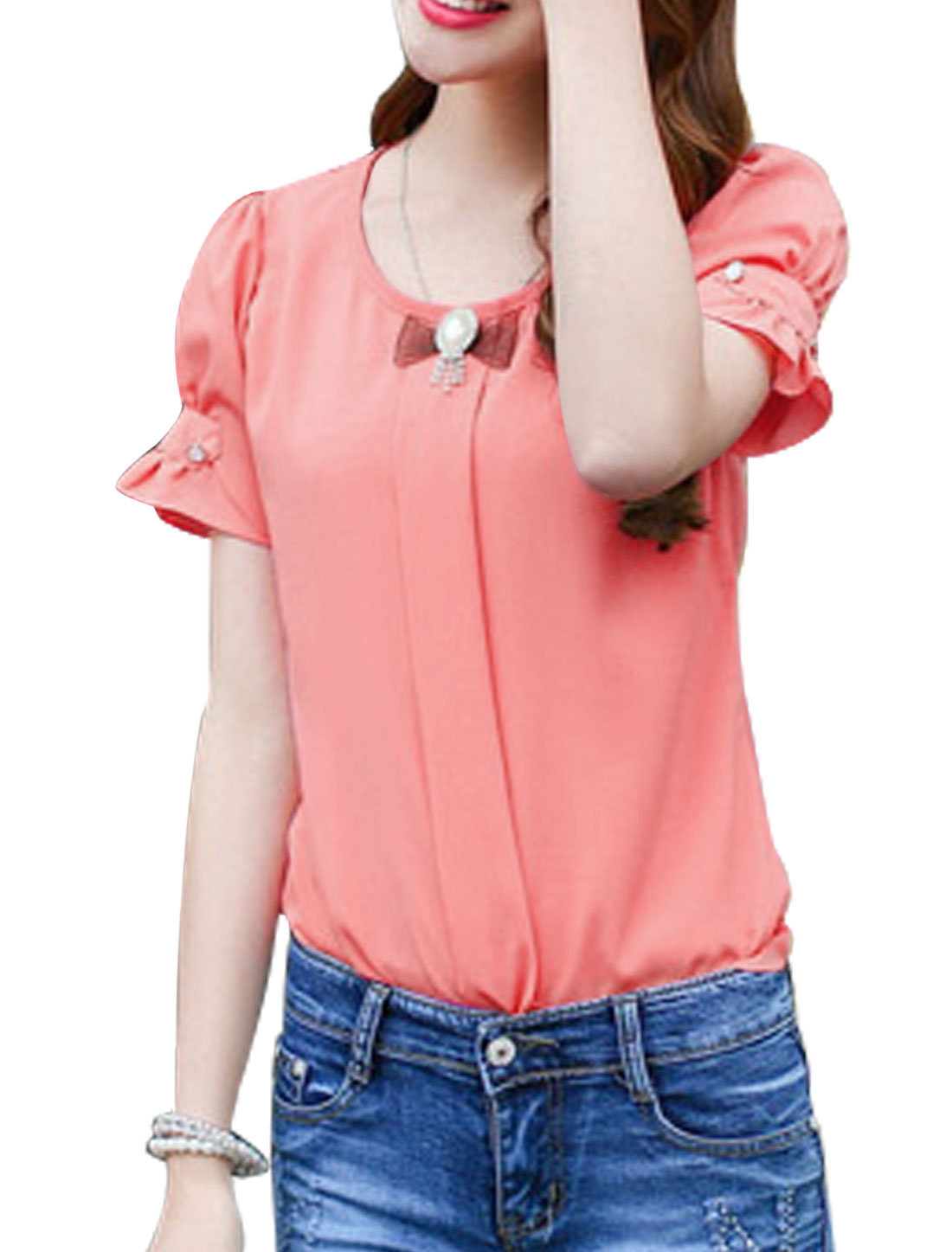 Woman Round Neck Short Sleeves Well-fitting Leisure Top w Brooch Watermelon Red XS