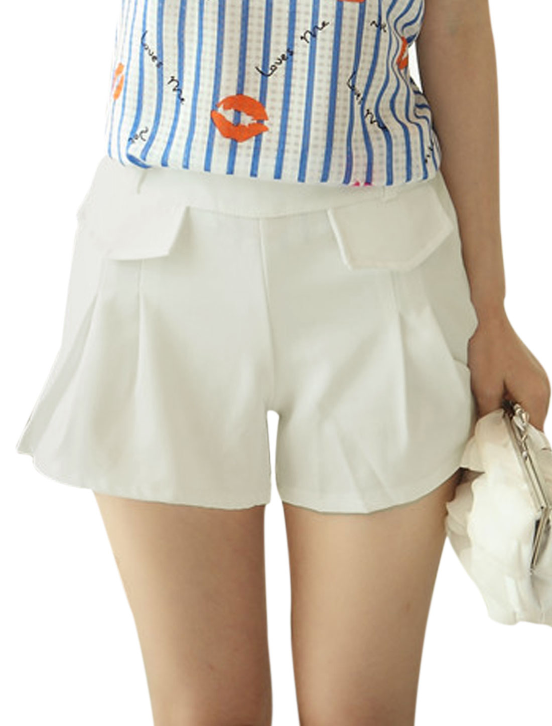 Women Elastic Waist Mid Rise Flap Design Casual Shorts White S