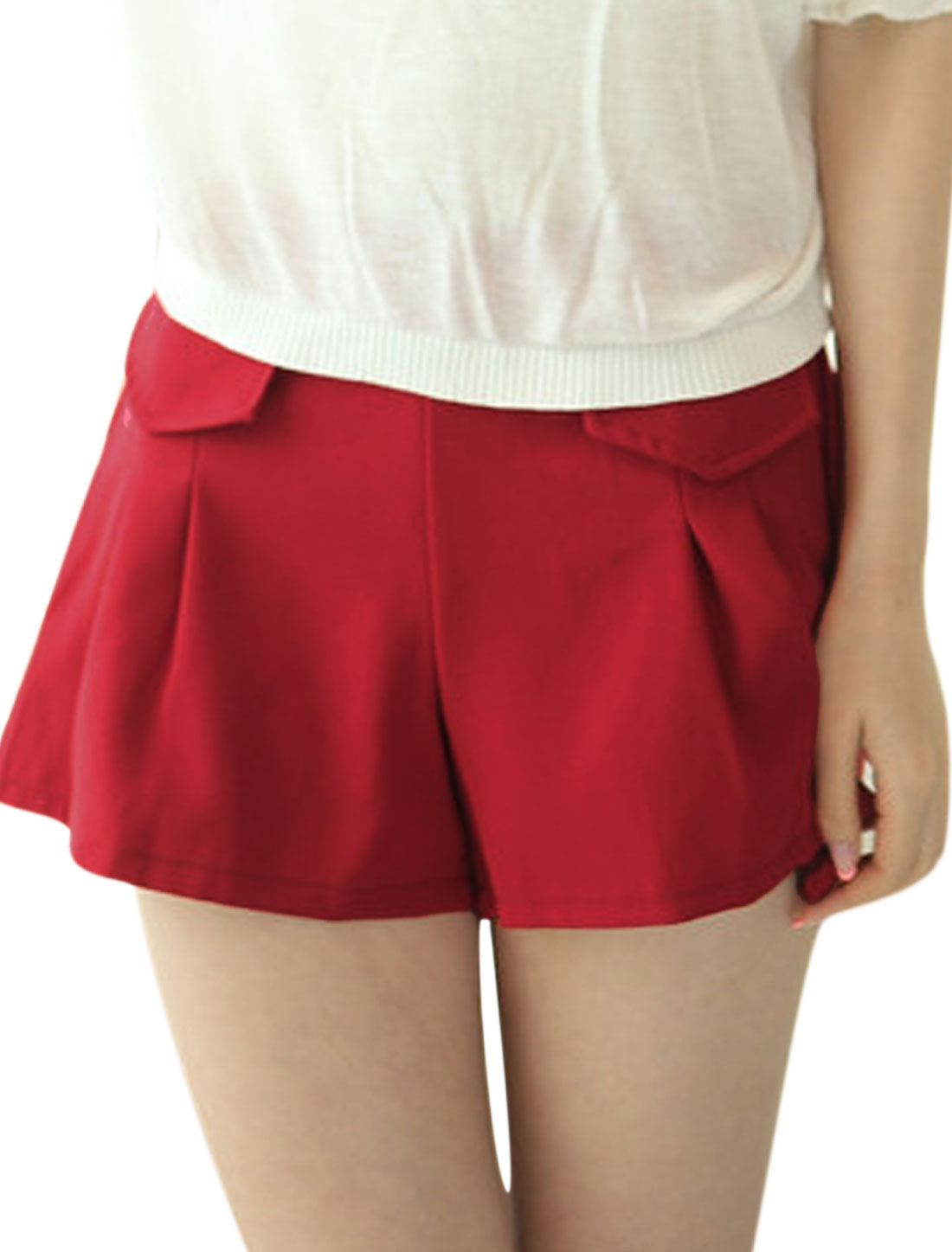Ladies Stretchy Waist Mid Rise Flap Design Casual Shorts Warm Red S