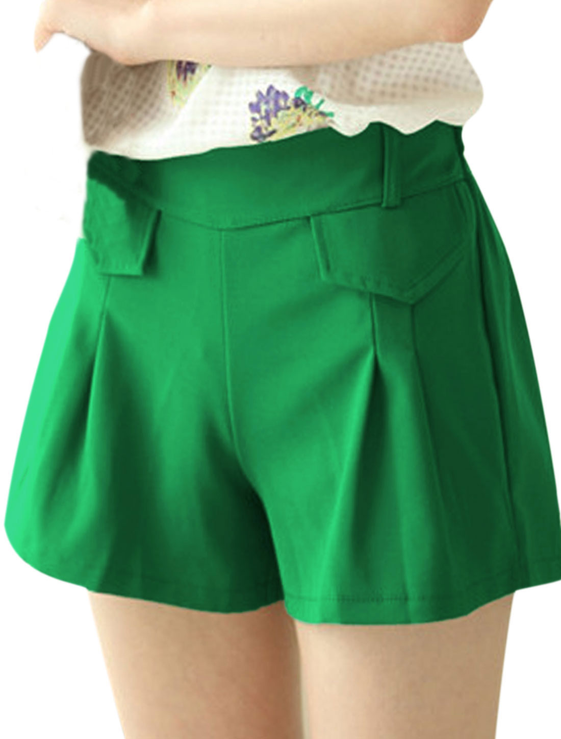 Ladies Elastic Waisted Mid Rise Flap Design Shorts Green S