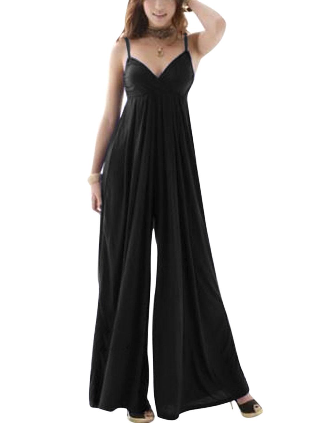 Women Sweetheart Neckline Padded Bust Backless Wide Leg Casual Jumpsuit Black XS