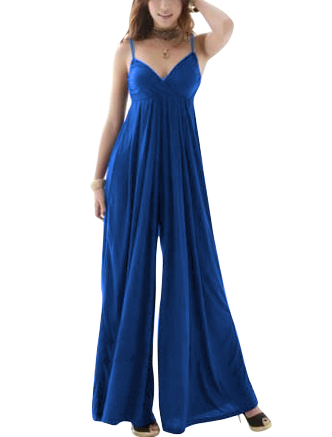 Ladies Padded Bust Backless Wide Leg Elastic Waist Jumpsuits Royal Blue XS