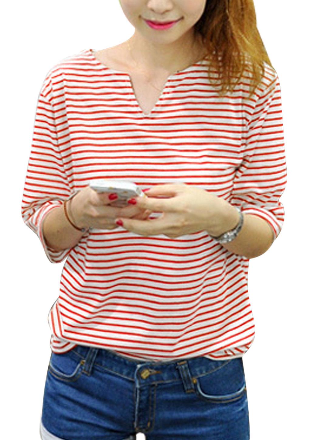Woman Stripes Split Neck Half Length Sleeves Slipover Leisure Top Red White XS