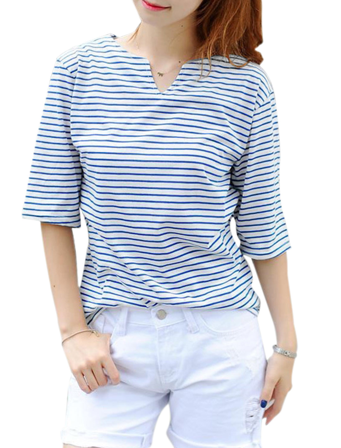 Woman Stripes Split Neck Half Length Sleeves Casual Top Blue White X
