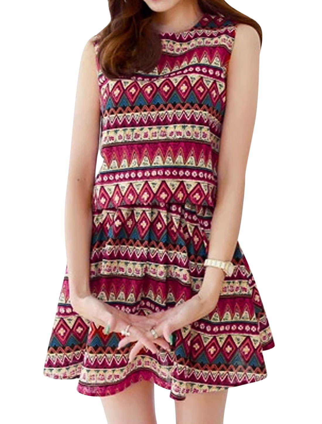 Woman Geometrical Prints Round Neck Tank Top w A Line Skirt Sets Multicolor XS