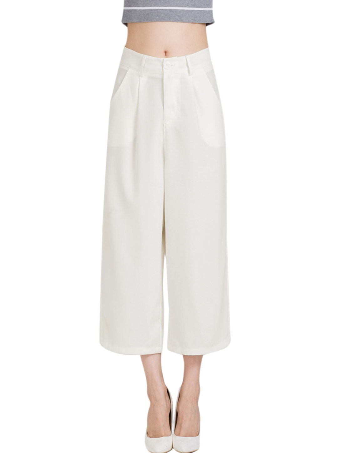 Women Mid Rise Zip Fly Pockets Wide Leg Loose Cropped Pants White L