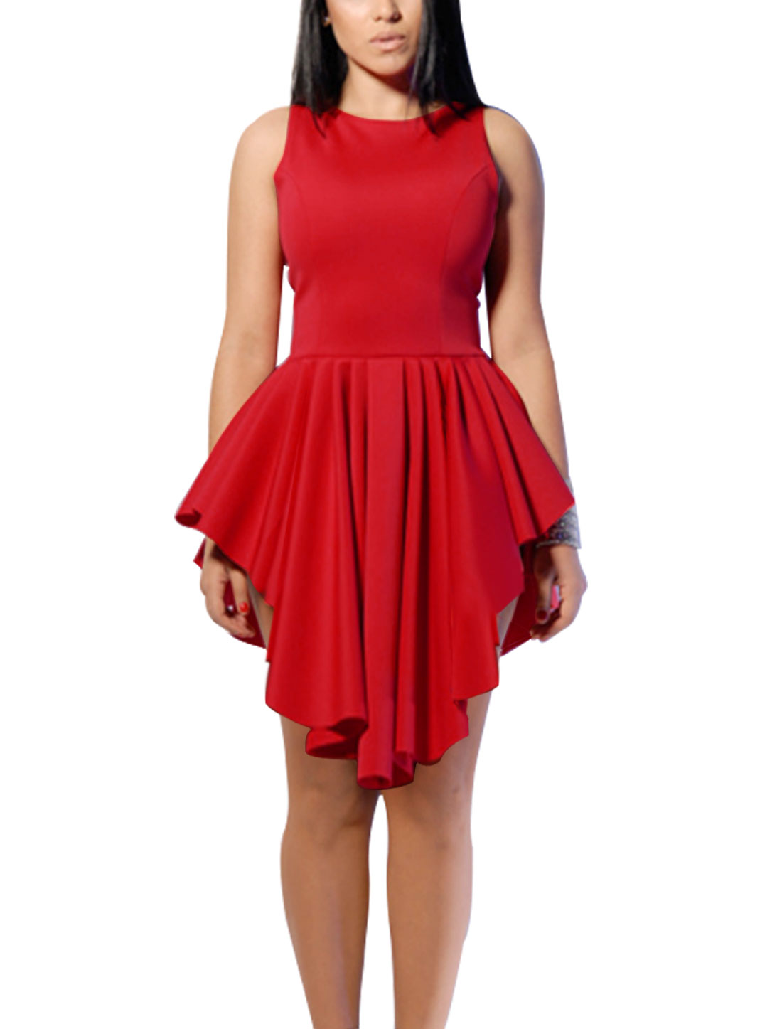 Woman Round Neck Sleeveless Asymmetrical Hem Unlined Dress Red M