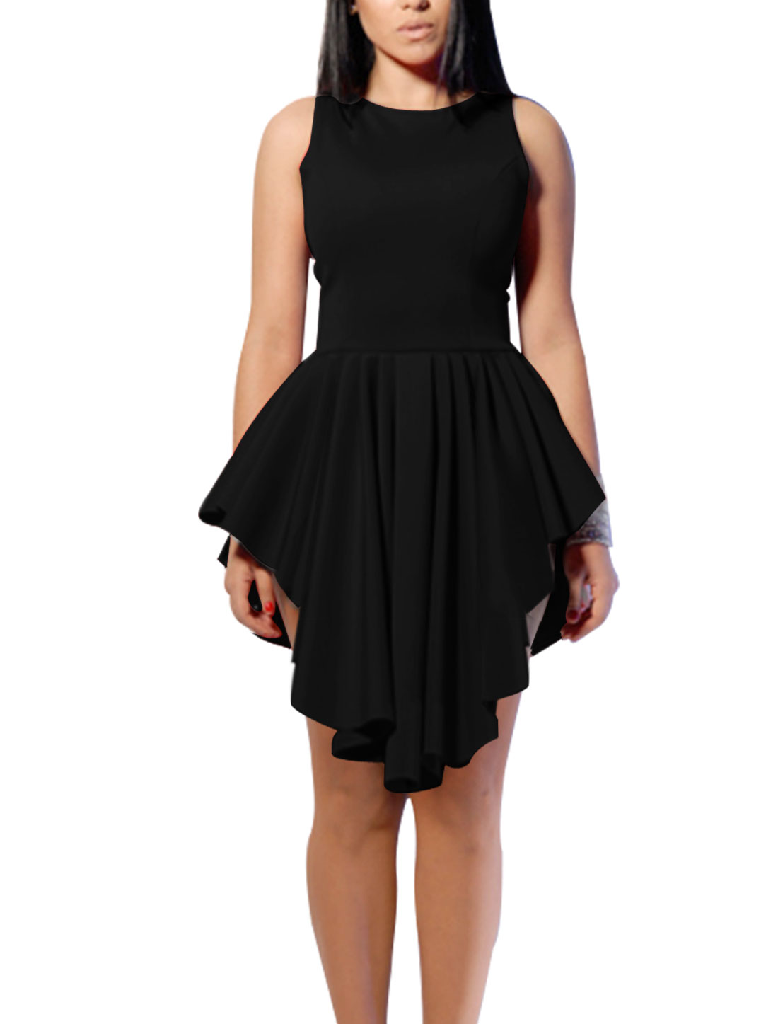 Lady Round Neck Sleeveless Asymmetrical Hem Unlined Dress Black M