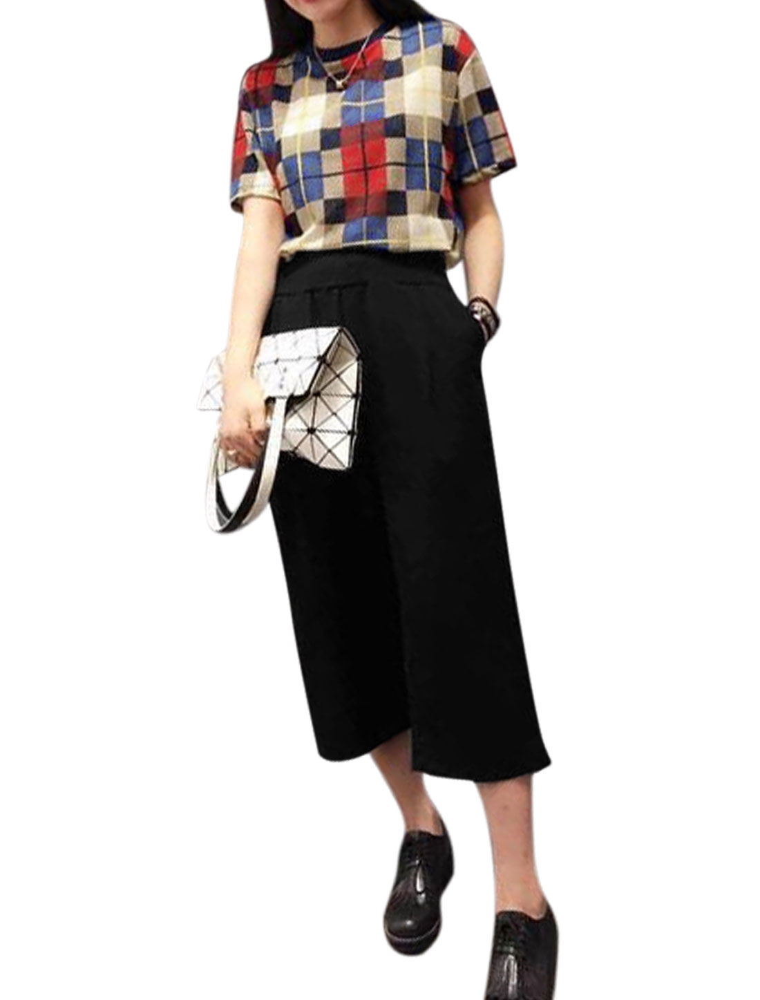 Women Checks Short Sleeve Top w Zip Fly Wide Leg Cropped Pants Set Multicolor M