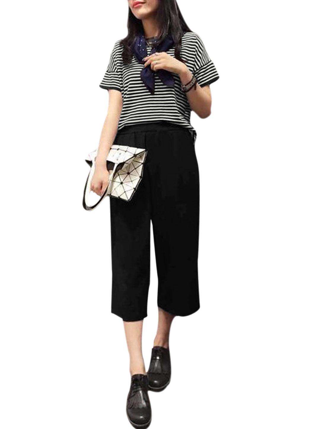 Women Stripes Prints T-Shirt w Wide Leg Casual Cropped Pants Set Black XS