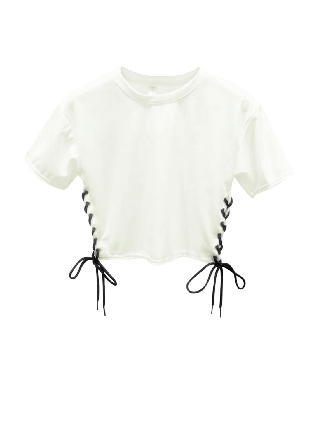 Woman Crossover Lace-up Sides Round Neck Short Sleeves Crop Top White XS