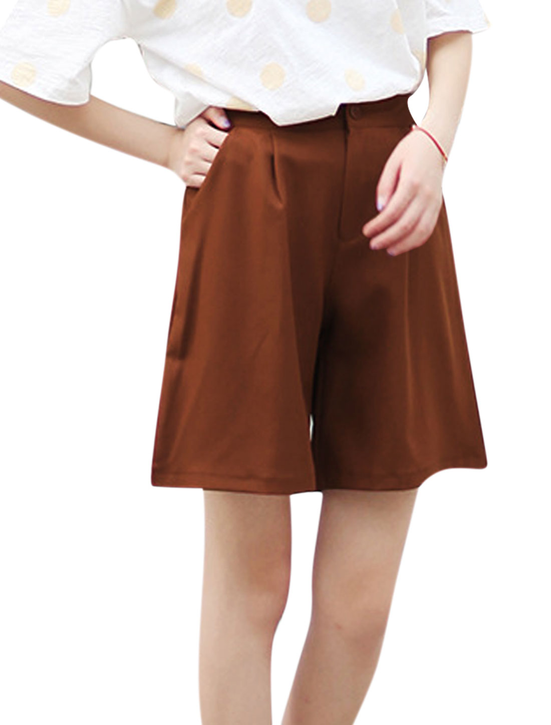 Ladies Mid Rise Zip Fly Front Pockets Wide Leg Summer Shorts Rust S